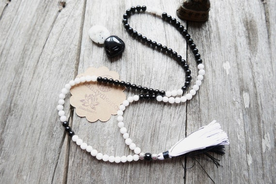 Mala Necklace with Tassel Balance & Protection | 108 Beads Japa Mala | Sun Moon Mantra Activated | Onyx Agate Mala | Small beads Mala 6mm