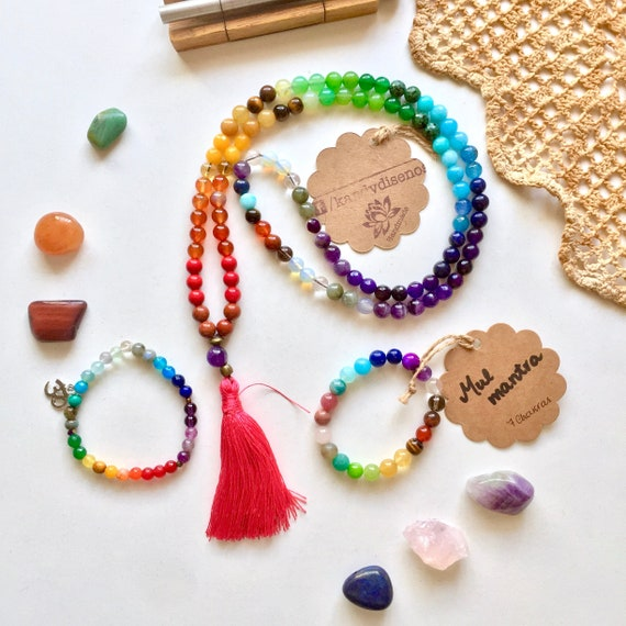 Chakra Stones 108 Mala Necklace & Bracelet   Chakras Mala Set   Chakra Balance Healing Jewelry Set   Mul Mantra