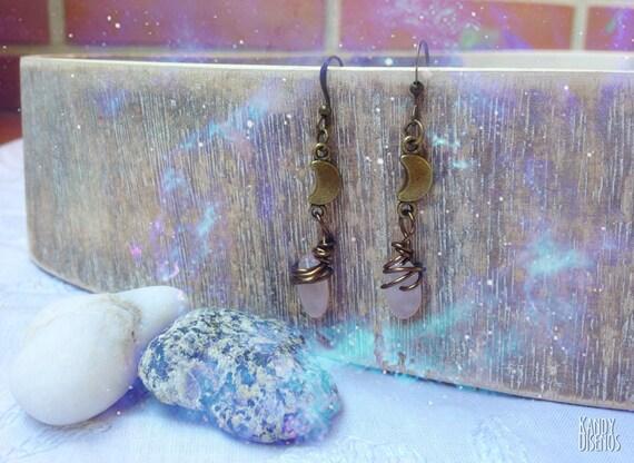 Moon Rose Quartz Earrings Crescent Moon, Crystal Bohemian Earrings. I love you to the moon and back. Moon jewelry. Gemstone dangle earrings