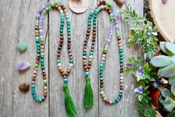 Healing Knotted Mala Beads Sandalwood Amethyst Rose Quartz and Amazonite Mala Beads 108 Bead Prayer Beads Mixed Wood and Gemstone Mala
