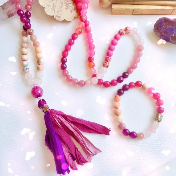 108 Mala Necklace & Bracelet Jewelry Set | Love ॐ Dharma Mala Set | Yoga Jewelry | Rose Quartz, Moonstone, Pink Agate, Jasper
