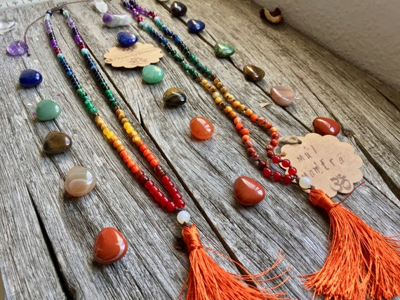 Chakra Mala Necklace 108 Beads Japa Mala Necklace Tassel. Chakra Pendant, Chakra Stones, Yoga Jewelry, 7 chakras Jewelry Meditation