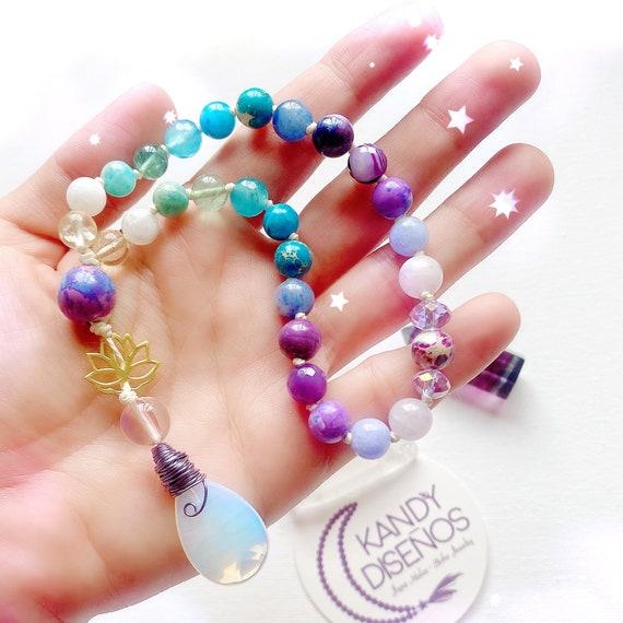 Lotus Mala 27 Beads Zen Pocket Mala | Amethyst Moonstone Opal Mala, 27 Mala beads 8mm, Yoga gift, Crystal Japa Mala, Yoga jewelry, yoga gift