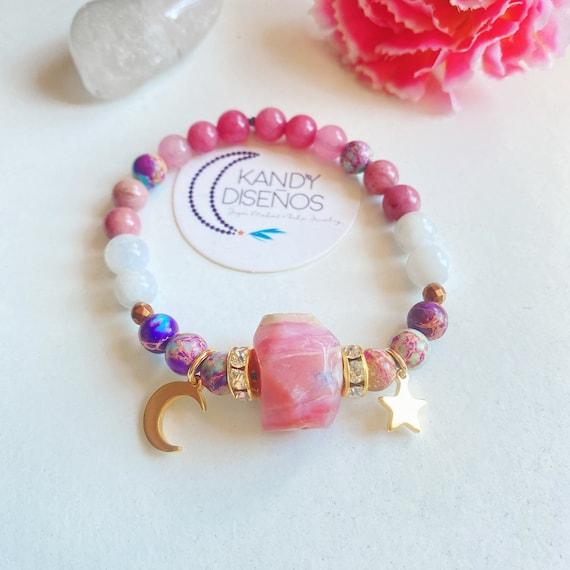 Women Bracelet Grace Moonstone | Mala Beads | Mala bracelet for Love & Balance | Heart Chakra | 6mm Opal Rhodonite Moonstone | Yoga jewelry