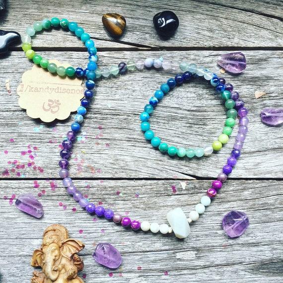 108 Mala Necklace Wisdom & Intuition Quartz Pendant ॐ Japa Mala: Amazonite Jasper Amethyst Mala, 108 Mala beads, Yoga gift, Yoga jewelry