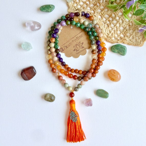 108 Mala Necklace with tassel Hope ॐ jewelry Yoga meditation gift, Protection Citrine Mala Amethyst, prayer beads, chakras Japa Mala