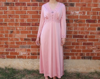 ce501b0f52 Vintage 1960s Vanity Fair Pink Long Nightgown Dress + Lace Button Long  Sleeve Robe Matching Set Peignoir Negligee Lingerie Size Small
