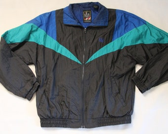 490826976f72 Vintage 1990s JCPENNEY USA Olympic Brand Apparel Black   Green   Blue Zip  Up Windbreaker Jacket Size Medium