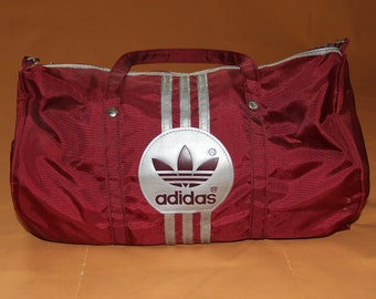 Vintage 1990s Adidas Red and Silver Gym Bag Overnight Travel Duffle Bag with Shoulder Strap Made in Taiwan