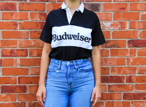 Vintage 1980s Budweiser Graphic Short Sleeve Polo