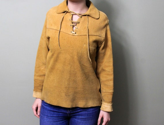 Vintage 1970s Suede Leather Lace Up Corset Front … - image 10