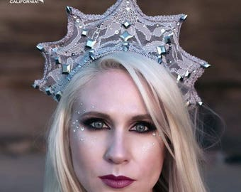 Silver Demona Tribal Fusion, Bellydance, Rave, Costume Spiked Headpiece