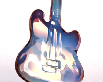 Guitar Figurine Hand Blown Glass Crystal Gold Sculpture