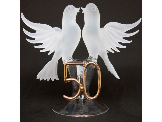 50th Anniversary Wedding Cake Topper of Hand Blown Glass with Swans Kissing