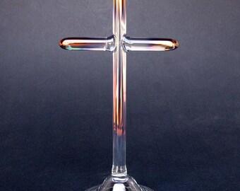 Cross Figurine Sculpture Hand Blown Glass Crystal Gold