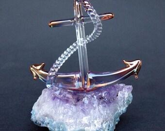 Anchor Figurine Hand Blown Glass Amethyst 24K Gold