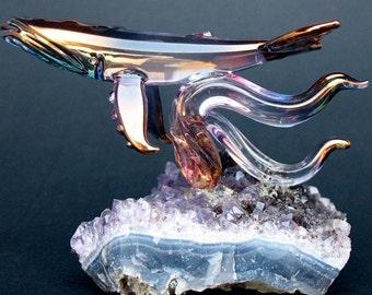 Whale Figurine Sculpture Blown Glass Amethyst Crystal