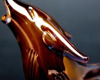 Wolf Figurine Collectible Sculpture of Hand Blown Glass