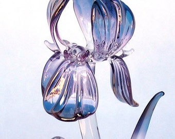 Iris Figurine of Hand Blown Glass Amethyst Crystal Gold