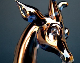 Giraffe Figurine of Hand Blown Glass with 24K Gold