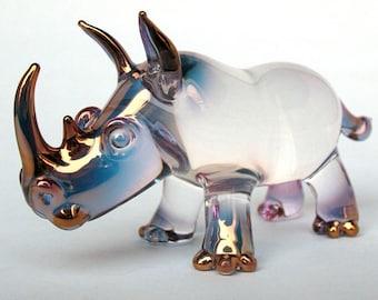 Rhino Rhinoceros Figurine Blown Glass Crystal Sculpture