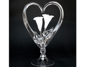 Calla Lily Lilies Frosted Glass Wedding Cake Top Topper