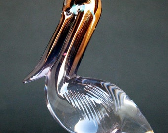 Pelican Figurine of Hand Blown Glass Amethyst 24K Gold