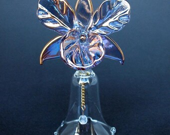 Orchid Bell Figurine of Hand Blown Glass and 24K Gold