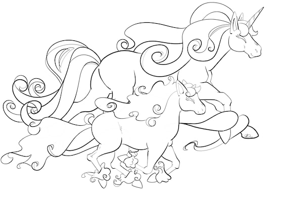 Pokemon Sun And Moon Rapidash And Ponyta Running Coloring Page Etsy