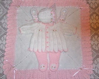 92e4b67a5 Crochet Baby Girl Pink And White Sweater Set Bonnet Booties