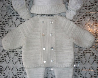 a883504f7 Crochet Baby Boy White Sweater, Leggings and Booties Layette Outfit Perfect  for Christenings and Winter