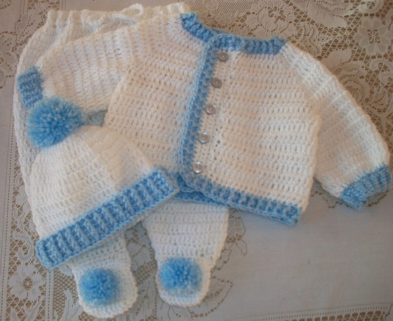 d4563598a729 Crochet Baby Boy Sweater Set Layette With Leggings Perfect For