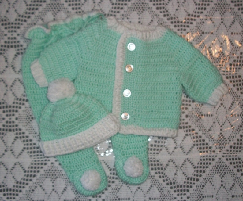 48b6d97492bd Crochet Baby Boy Sweater Set Layette Mint Green and White With