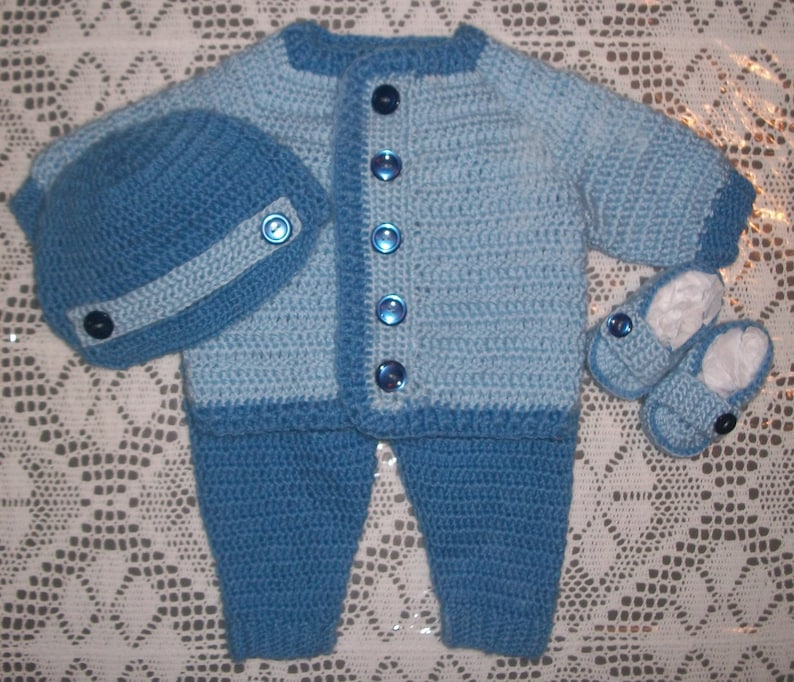 7c8a5a0c1 Crochet Baby Boy Sweater Set With Leggings and Booties Layette