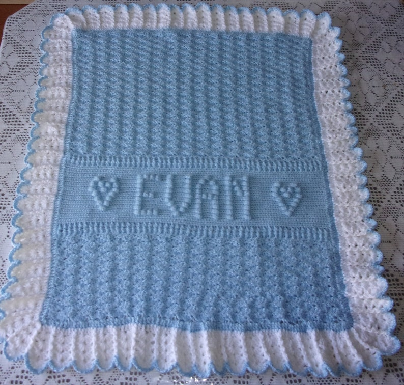 Personalized Crochet Baby Blanket Afghan Namedate For Etsy