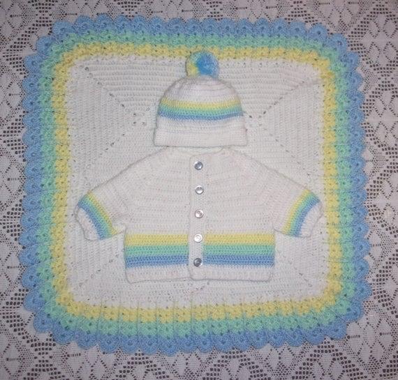 Ganchillo suéter Set ajuar de bebé niño y traje niño asiento | Etsy