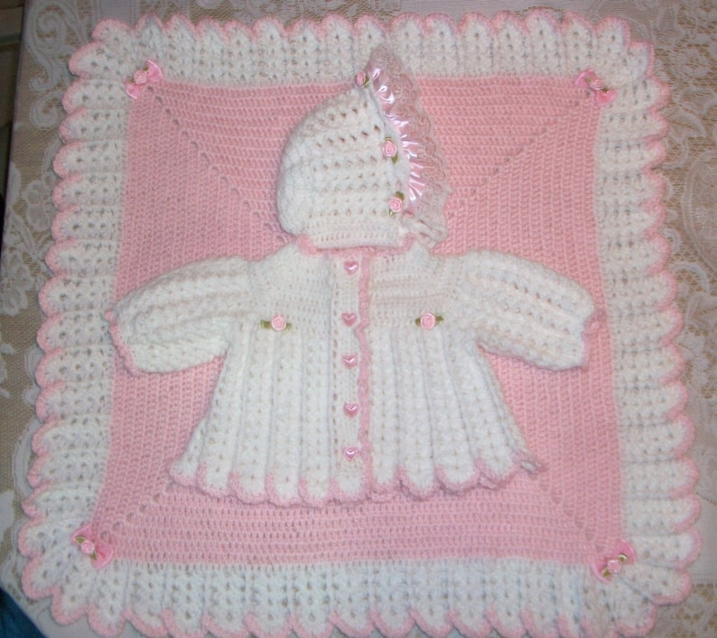 003c25daa58d Crochet Baby Girl Sweater Set Layette and Infant Baby
