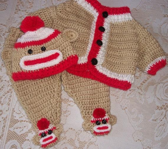 Häkeln Sock Monkey Pullover Set und Leggings Babyausstattung | Etsy