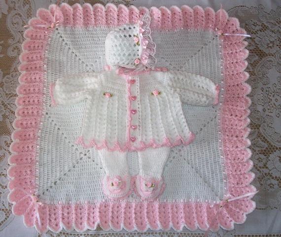 Crochet Baby Girl Sweater Set Layette With Fancy Feet Etsy