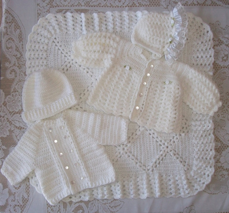 f0a79ea5b Boy Girl Twins Crochet White Christening Outfit Blanket
