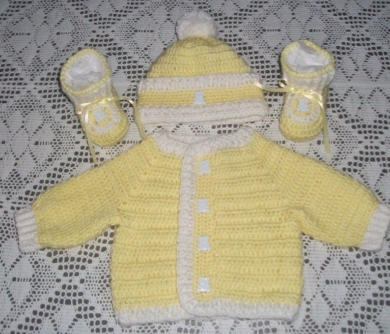 8feffd257 Crochet Baby Boy Yellow Sweater Hat and Booties Layette Set