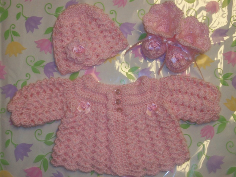 Crochet Baby Girl Sweater Set Layette Perfect For Take Me Etsy