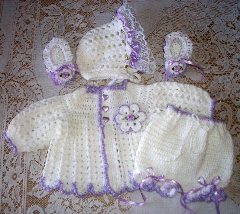 523d01c63 Crochet Baby Girl Sweater Set Bonnet Booties and Diaper