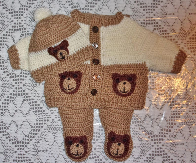 29e70fb6f Crochet Baby Boy Sweater Set Teddy Bear Layette Outfit With | Etsy