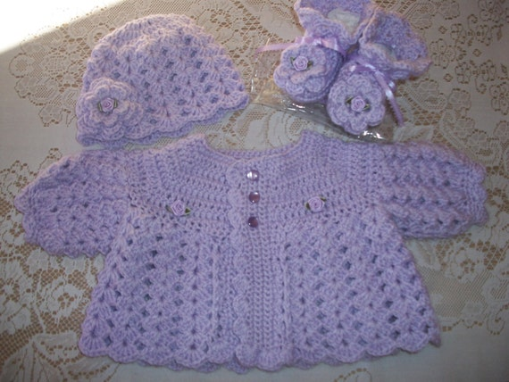 04eea1408957 Crochet Baby Girl Lavender Sweater Set Layette For Take Me