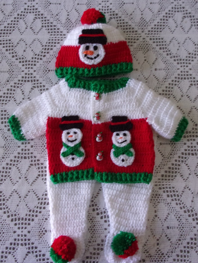 4bb6d2b32adc Christmas Winter Baby Boy Sweater Set Snowman Layette Outfit