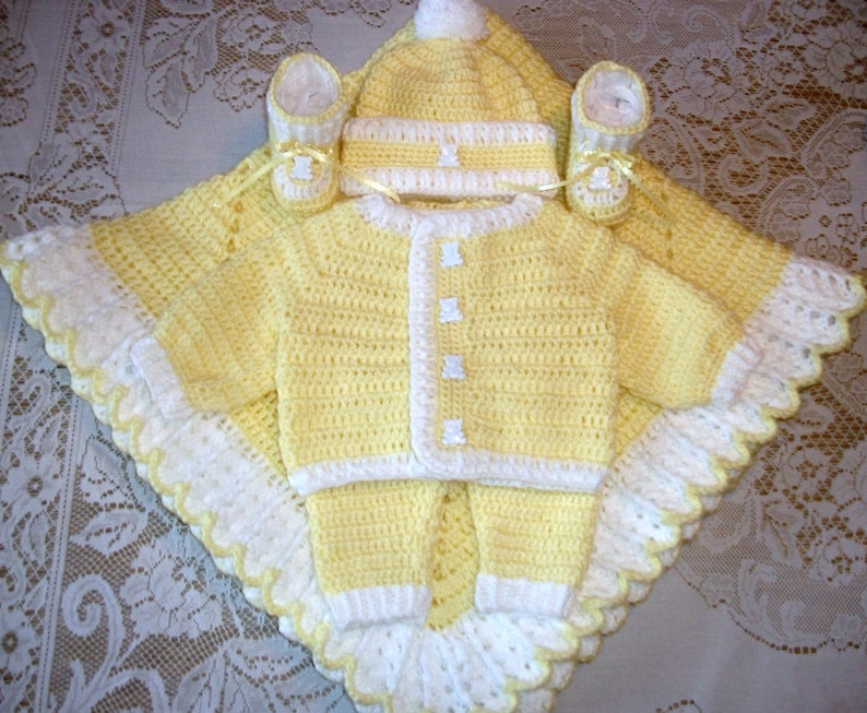 2108dbf5b Baby Boy Yellow Crochet Layette Sweater Set Outfit Leggings