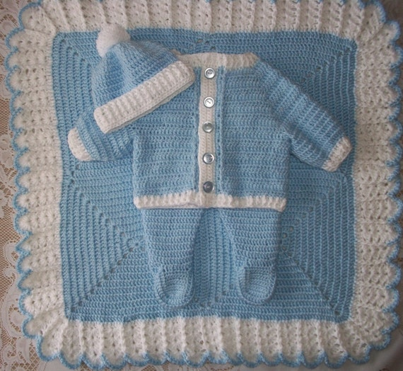 c909f83a6e39 Crochet Baby Boy Sweater Set With Leggings and Blanket Perfect