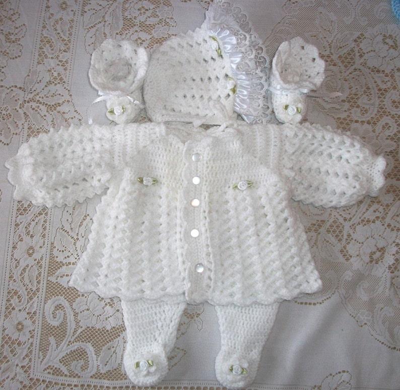 7139dcf0fc8e Crochet Baby Girl White Sweater Set Layette Bonnet Leggings