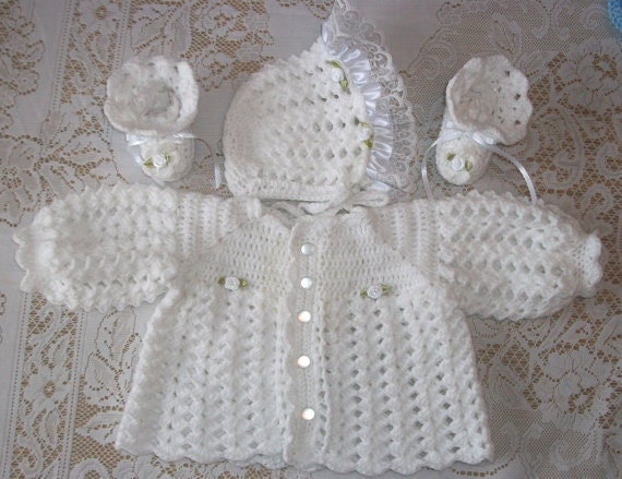 86107badd Crochet Baby Girl White Sweater Set Bonnet and Booties